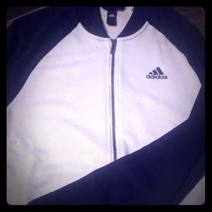 Adidas zip up sweatshirt Small black and white